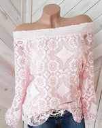 Fashion Women Elegant Long Flare Sleeve Shirt Off Shoulder Lace Blouse