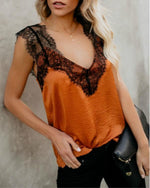 Fashion Loose Lace Sleeveless V Neck Solid Tanks & Camis