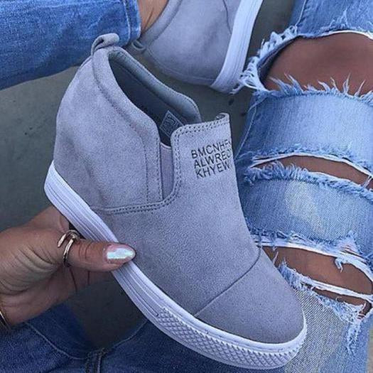 03ac09bab2004e Fashion Letter Slip On Wedge Sneakers Faux Suede Wedge Heel Casual Sneakers