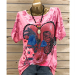 Casual Plus Size Top Short Sleeve Floral Printed Blouse