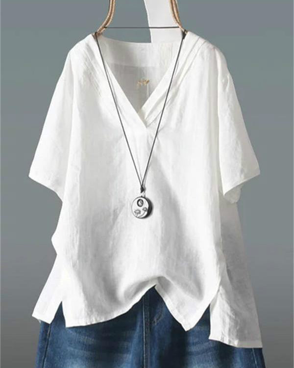 03ae636122ce29 Casual V Neck Tops Solid Color Linen Plus Size Blouse