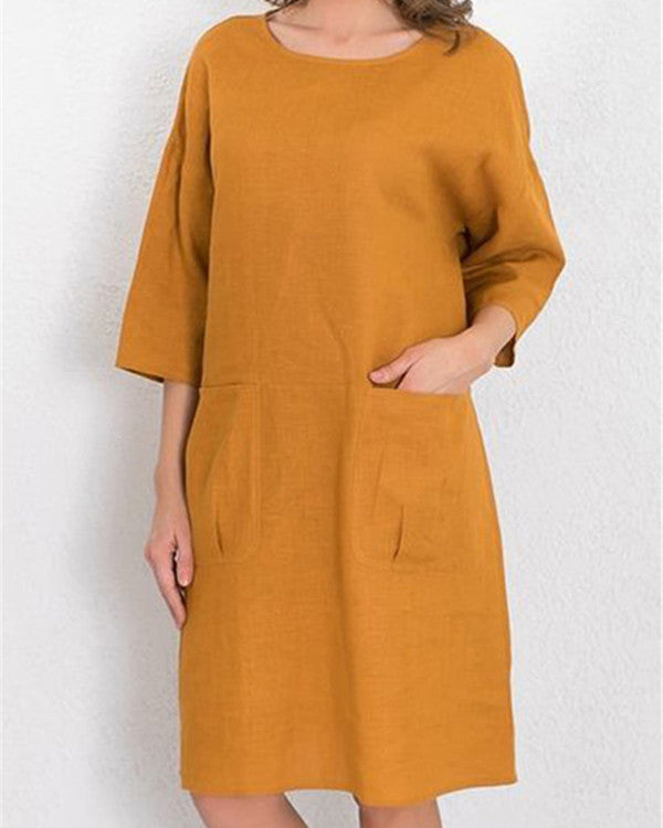 Plus-Size Women Pure Color Linen Loose Dress