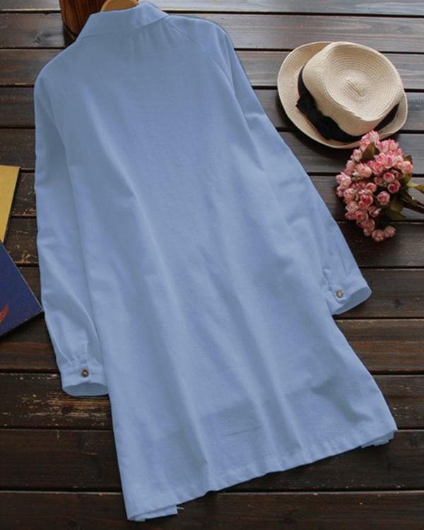 Cotton And Linen Plus Size Long-Sleeved With Pocket Dress