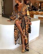 Early Spring Long Sleeve V-Neck Print Maxi Dress