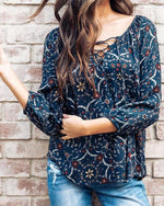Women Casual Floral Print 3/4 Sleeve Lace Up Blouses Tops