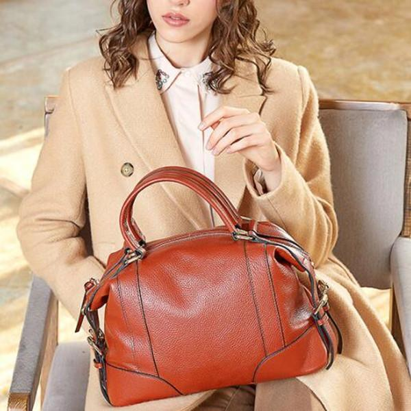 Real Genuine Leather Lady Handbag Cowhide Tote Crossbody Bag