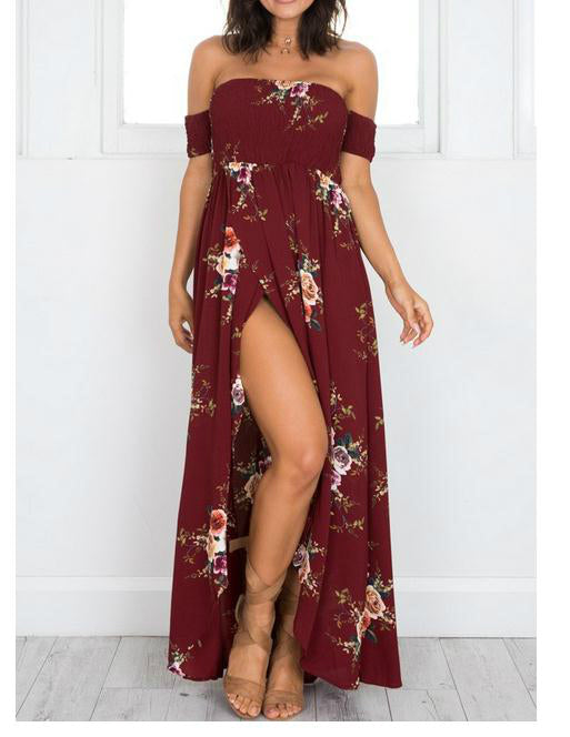Women's Off Shoulder Floral Print Slit Dress