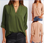 Women Casual Cut Out V-neck Long Sleeves Blouses Tops