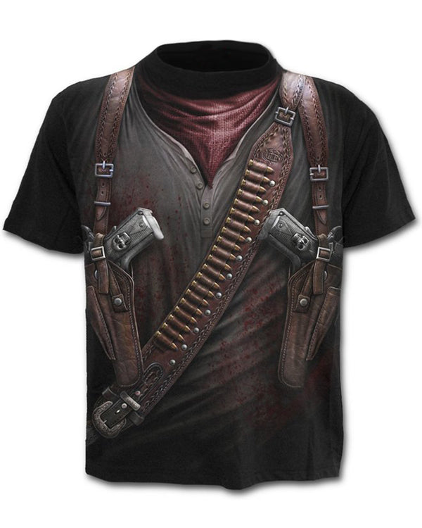 Stylish Black HOLSTER WRAP 3D Round Neck T-shirt