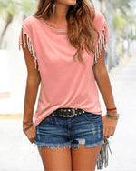Women Casual Crew Neck T-shirt With Tassel Details