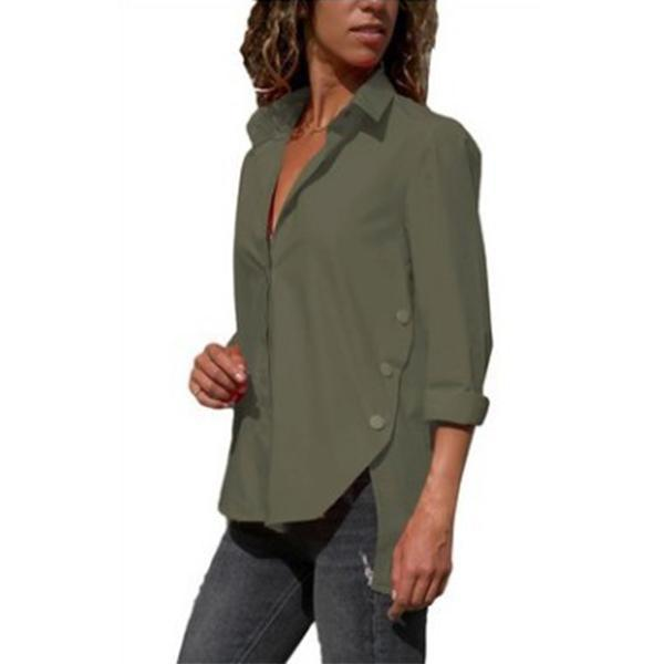 Women's Long-Sleeved Hem Split-Fork Irregular Blouses
