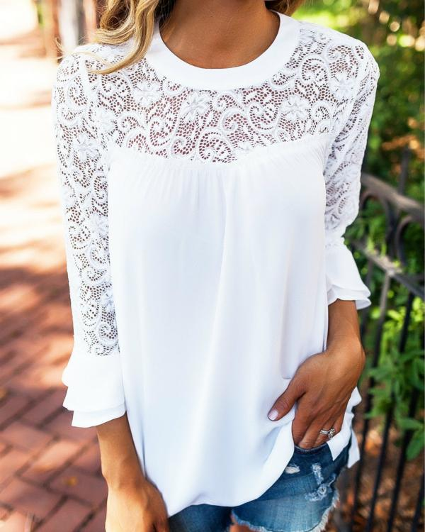 Solid Arabian Round Neckline 3/4 Sleeves Blouses