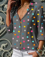 Long Sleeve Polka Dots Floral-Print Casual Shirts & Tops