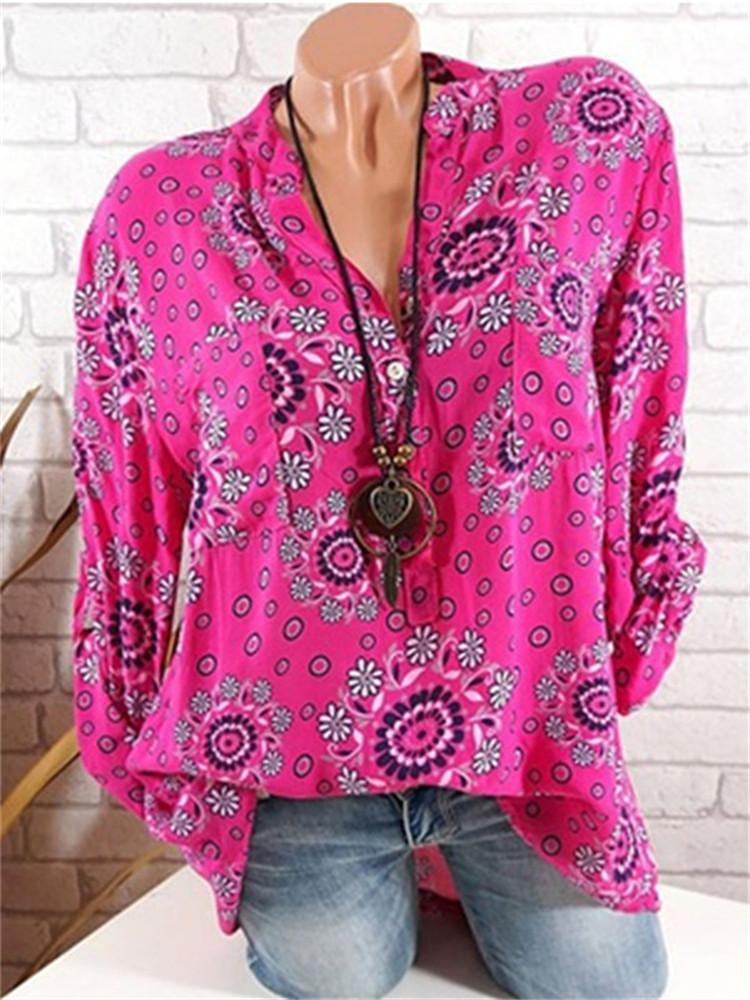 Plus Size Casual Long Sleeves Flower Printed V-Neck Blouses