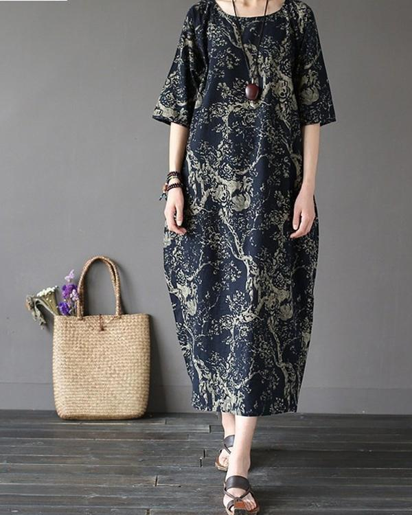 Women Casual Ethnic Style Printed Half Sleeve Plus Size Dress