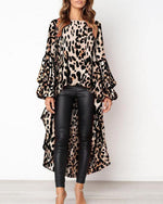 Women Leopard Print Long Sleeve Irregular Hem Blouse Tops