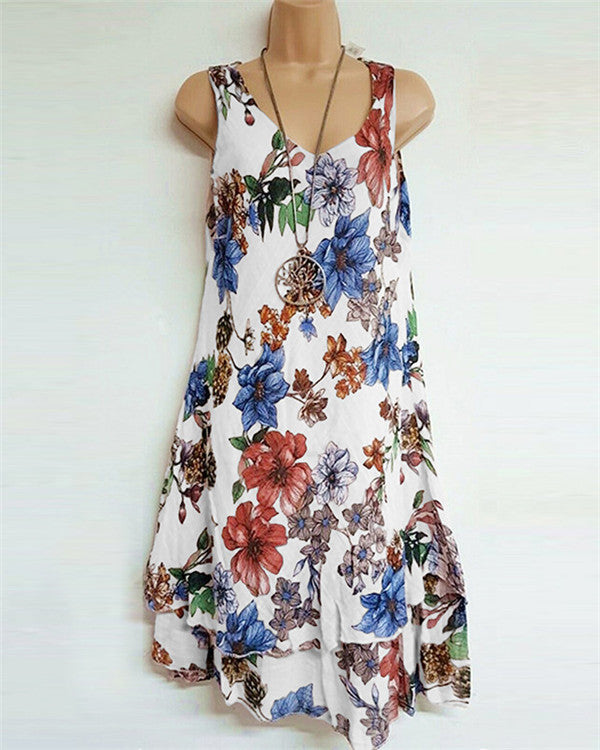 V Neck Casual Sleeveless Women Floral Printd Dress