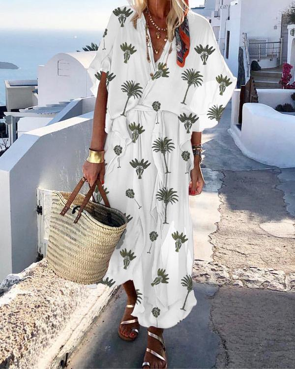 Bohemian Summer V Neck Printed Short Sleeve Plus Size Dresses