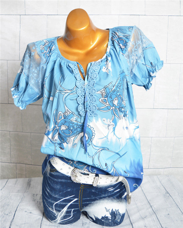 Casual Floral Printed  Women Shirts Tops