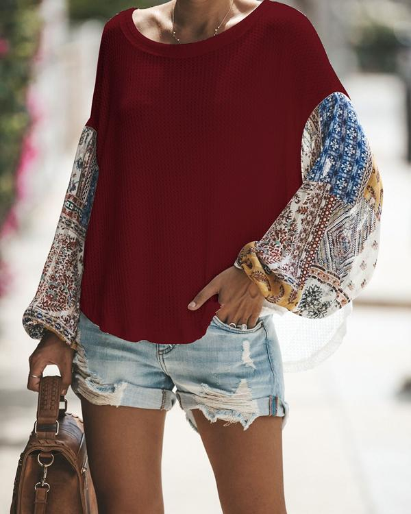 Women Casual Color Matching Long-Sleeved Knitting Blouses Tops