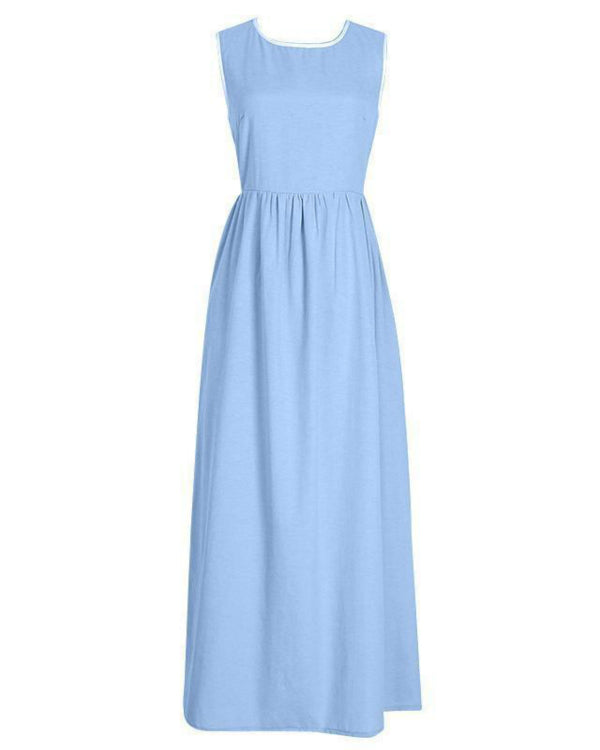 Elegant High-Waisted Pocket Holiday Maxi Dress