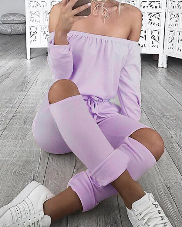 Long Sleeve Off Shoulder Jumpsuit