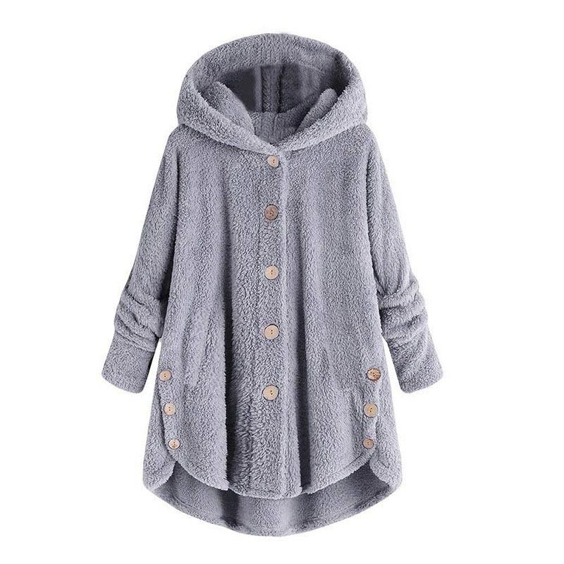 Fleece Hooded Irregular Hem Button Coats