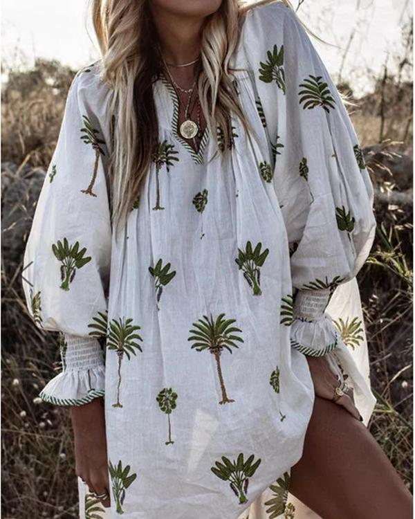Boho V Neck Printing Casual Dresses