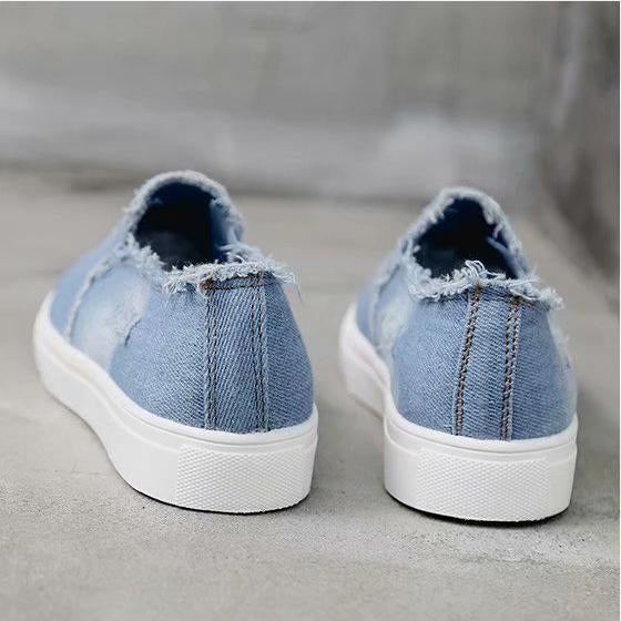 Big Size Washed Denim Loafers Flats Canvas Shoes Women Casual Slip on
