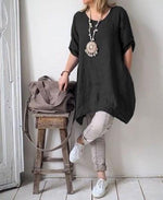 Plus Size Half Sleeve Crew-Neck Irregular Hem T-Shirts Tops