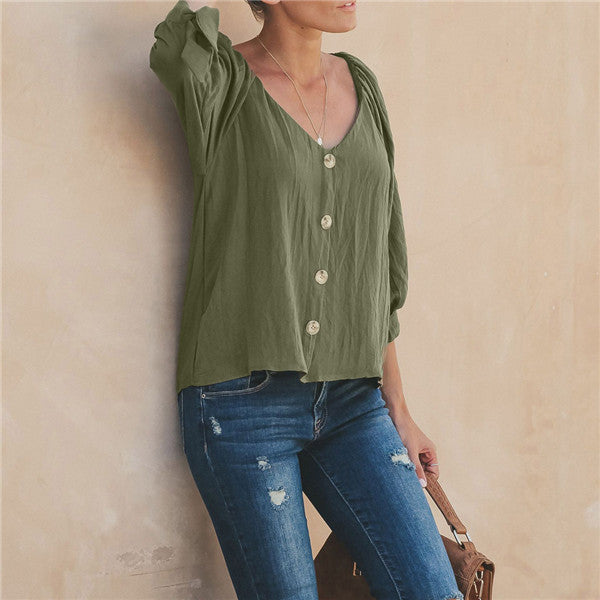 Women Solid Color Shirts Plus Size Crew Neck Blouse