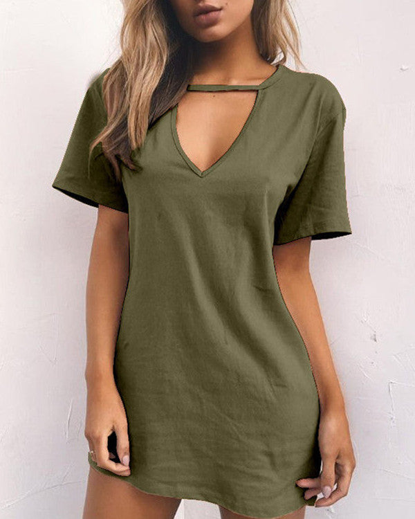 Women V Neck Solid Color Mini Dresses