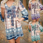 V Neck Women Shift Holiday Casual Printed Mini Dresses