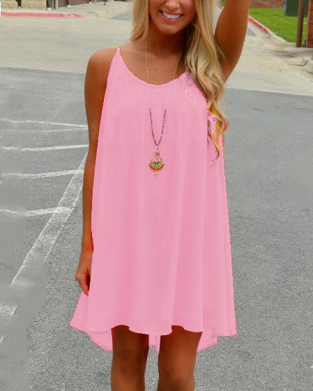 Chiffon Leisure Solid Slip Mini Dress