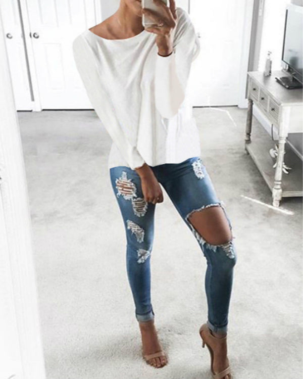 Cutout Round Neck Backless Hollow Details T-shirts Tops