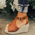 Women Chic Espadrille Wedges Adjustable Buckle Sandals