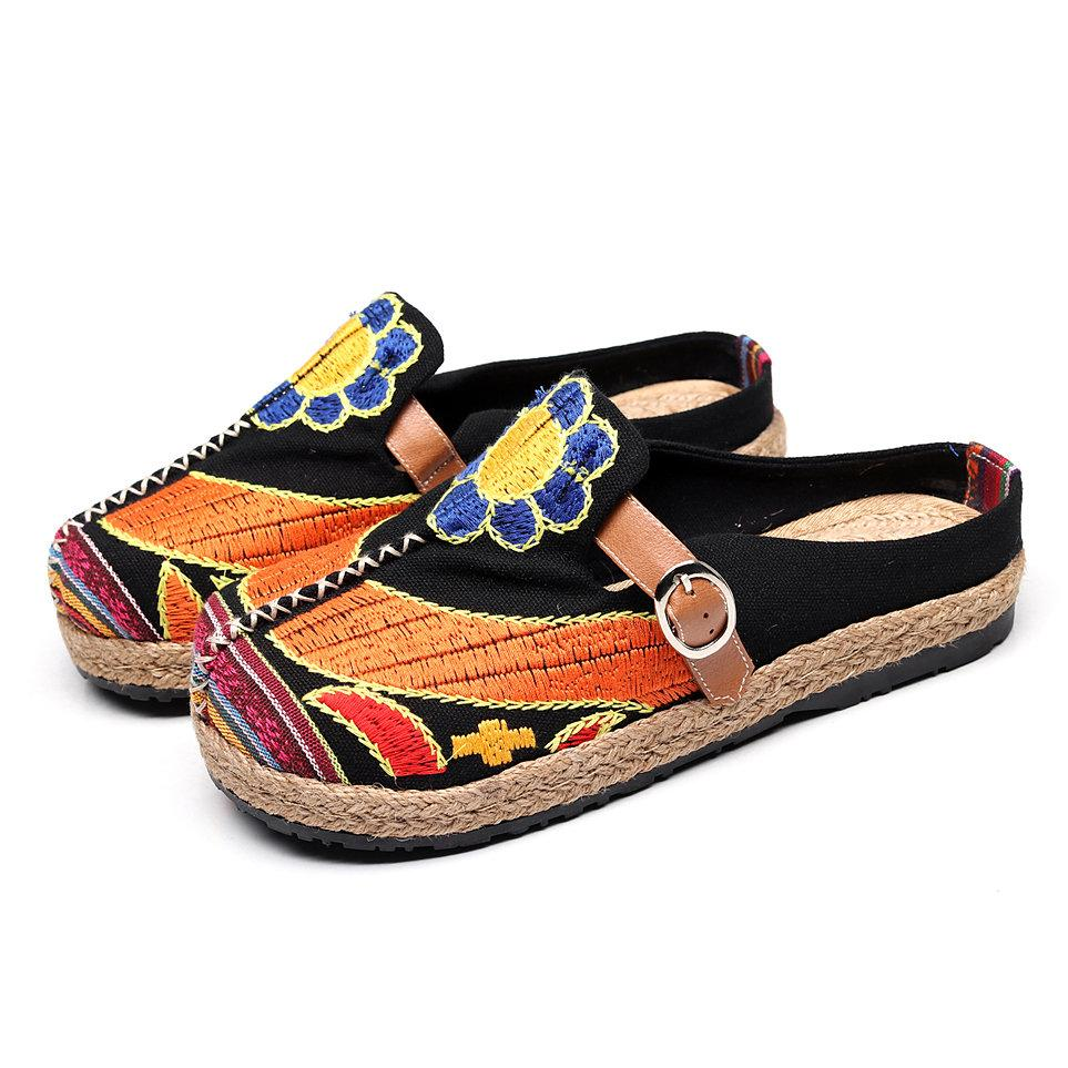 Colorful Embroidered Buckle Folkways Backless Loafers For Women