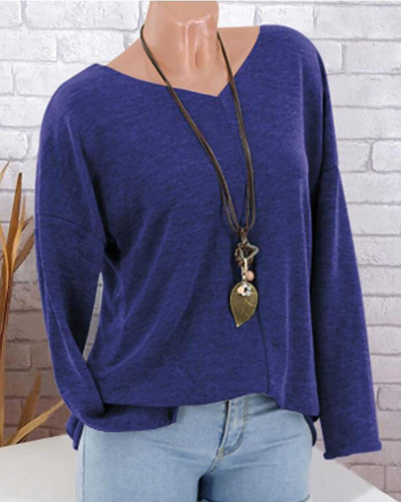 Fashion Solid Color V-Neck Long Sleeves Loose Blouse
