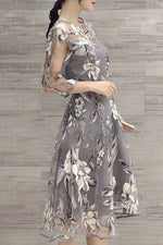 Gray A-line Women 3/4 Sleeve Party Printed Floral Elegant Midi Dress