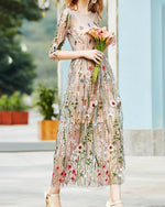 Apricot 3/4 Sleeve Vintage Embroidered Maxi Dress