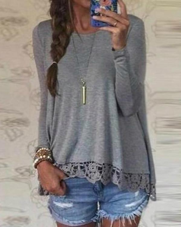 Crew Neck Long Sleeve Lace Crochet Casual Loose T-Shirt Tops