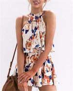 Floral Printed Sleeveless Women Mini Dress
