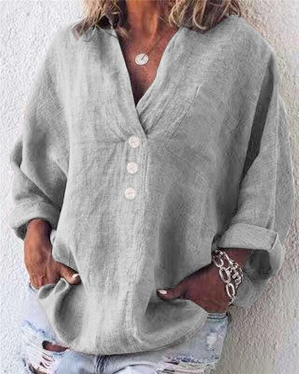 Cotton Linen Casual Buttoned Pockets Solid Long Sleeve Blouses