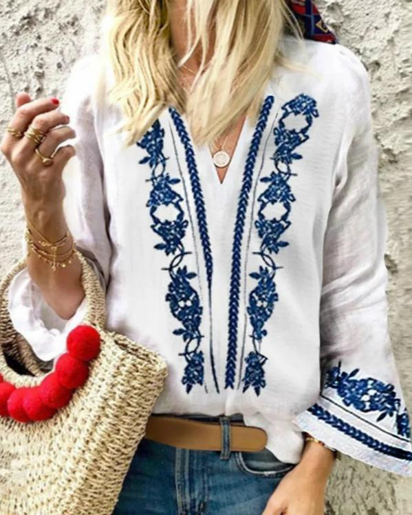 Vintage Blue Printed V-Neck Casual Blouse Tops