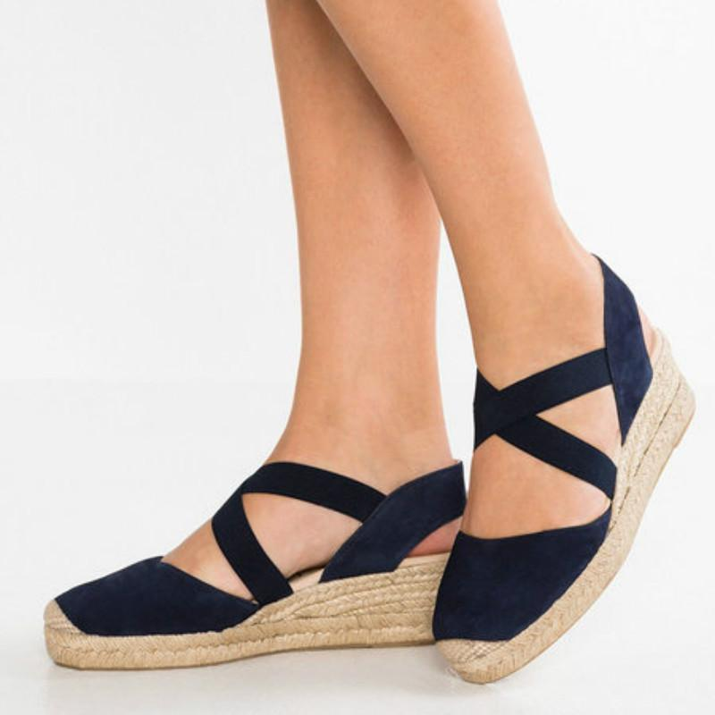 Espadrille Wedge Sandals Elastic Band Slip On Sandals