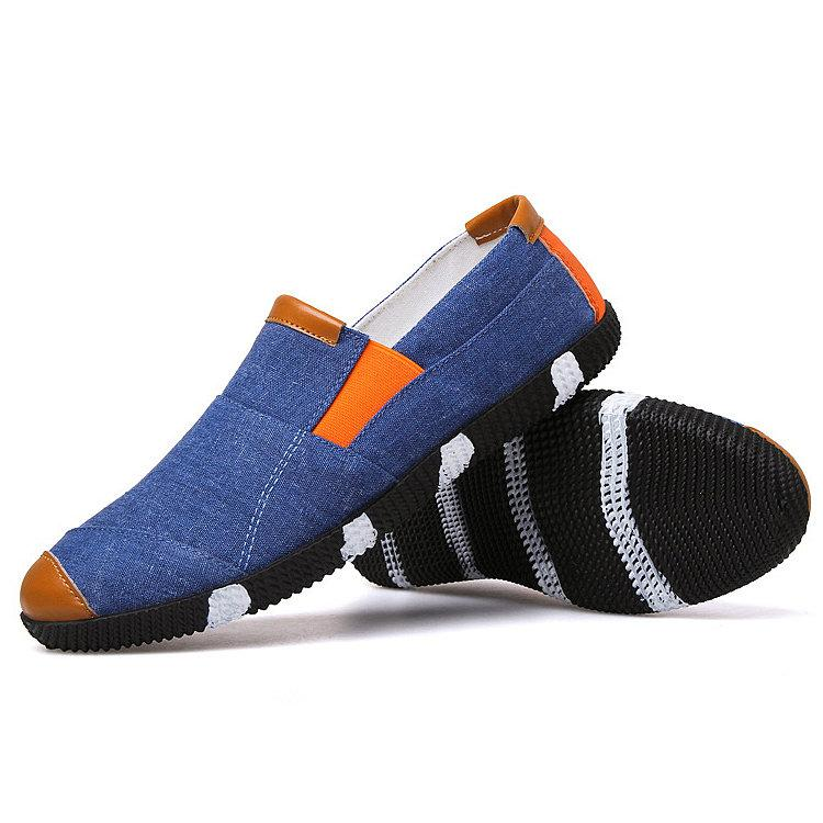 Men Canvas Splicing Flat Elastic Slip On Soft Sole Casual Shoes
