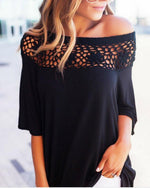 Women Causal One Shoulder Hollow-out T-shirts Tops