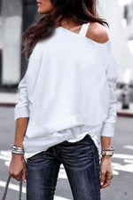 Shecici One Shouder Casual Soft Long Sleeve T-Shirts