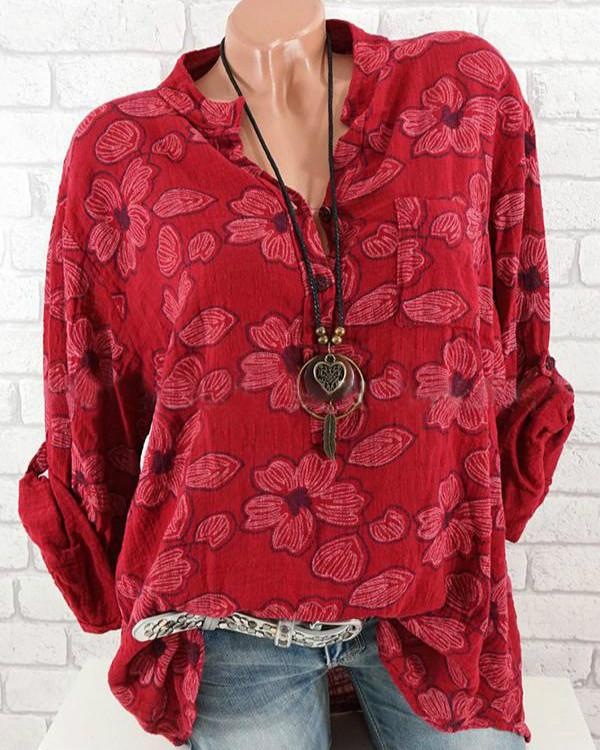 Floral Casual Polyester Collar Long Sleeve Blouses