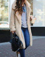 Fashion Lapel Long Sleeve Plain Casual Coats